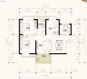 保利天禧2室2厅1卫90平方米户型图