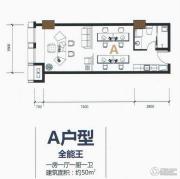 保利国际广场1室1厅1卫50平方米户型图