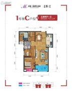 美联联邦生活区二期城仕3室2厅1卫96平方米户型图