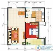 华业临海1室2厅1卫82平方米户型图