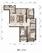金麦加汇君城3室2厅2卫135平方米户型图
