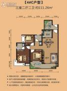 瑞丰世家3室2厅2卫111平方米户型图
