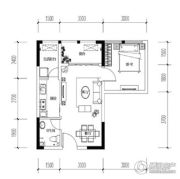宝嘉花与山1室2厅1卫37平方米户型图