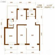 西山庭院二期花石匠2室2厅1卫101平方米户型图
