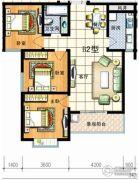 红安帝都3室2厅1卫100平方米户型图