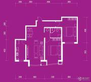 月伴林湾2室2厅1卫100平方米户型图