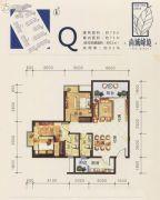 尚城峰境2室2厅2卫79平方米户型图