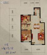 辽阳第一城2室2厅1卫86--87平方米户型图