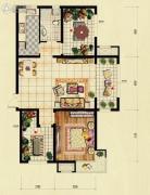 红木林1室2厅1卫81平方米户型图