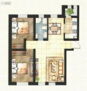 东方国际城2室2厅1卫80平方米户型图
