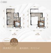 新城�Z城2室2厅1卫103平方米户型图