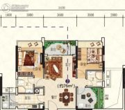 星海湾华庭3室2厅2卫76平方米户型图