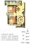 华强城2室2厅1卫86平方米户型图