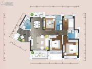 悠山美地花园4室2厅2卫123平方米户型图