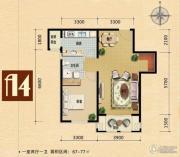世嘉光织谷1室2厅1卫67平方米户型图