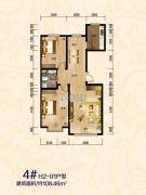 傲北上城2室2厅1卫108平方米户型图