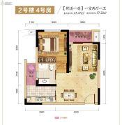 志龙观江�X1室2厅1卫43平方米户型图