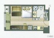 城市桂冠1室1厅1卫40平方米户型图