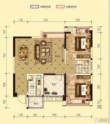 凤凰城2室2厅1卫89平方米户型图