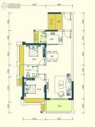 汇显城市公园2室2厅1卫85平方米户型图