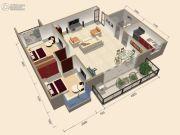 中视金海湾2室2厅1卫85平方米户型图