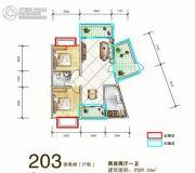 岳塘映象2室2厅1卫89平方米户型图