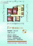 泛亚国际3室2厅2卫123平方米户型图