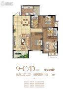 府东公馆3室2厅2卫140--141平方米户型图