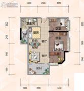 悦尚公馆3室2厅1卫83平方米户型图