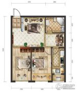 远洋荣域2室2厅1卫71平方米户型图