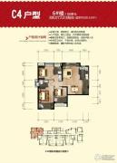 福晟钱隆城3室2厅2卫88平方米户型图