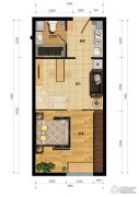 汇雄时代1室1厅1卫0平方米户型图
