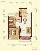 恒大御景半岛2室2厅1卫68平方米户型图