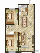 吉森漫桦林2室2厅1卫100平方米户型图