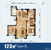 领秀蓝珀湖3室2厅2卫123平方米户型图