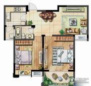 保利香槟国际2室2厅1卫86平方米户型图
