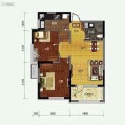 保利溪湖林语2室2厅1卫82平方米户型图