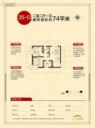 天朗美域2室2厅1卫74平方米户型图