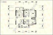 恒大名城3室2厅1卫89平方米户型图