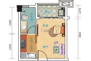 中澳滨河湾1室1厅1卫31平方米户型图