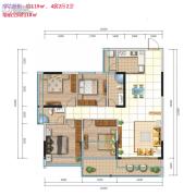 城市名庭4室2厅2卫119平方米户型图