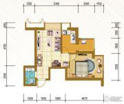仁恒国际领寓1室2厅1卫58平方米户型图