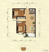印象青城2室2厅1卫93平方米户型图