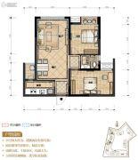 置地城2室2厅1卫67平方米户型图