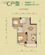 磁湖南郡2室2厅1卫88平方米户型图