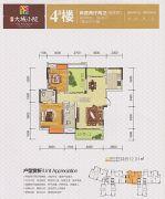 中糖・大城小院2室2厅2卫106平方米户型图