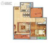 万达广场1室2厅1卫81平方米户型图