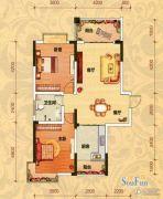 巨友中央公馆2室2厅1卫103平方米户型图