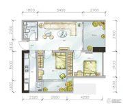 金地天府城2室2厅1卫84平方米户型图
