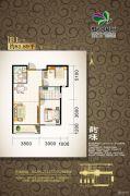 虹京国际2室2厅1卫81平方米户型图